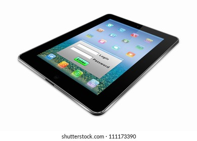 stylized tablet pc on a white background
