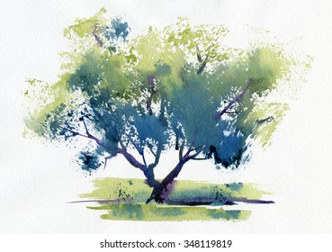 Stylized tree on a white background. Watercolor.