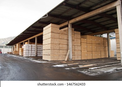 Styria, Austria - December, 2018: Wood yard of a large sawmill, where the cut and sorted wood is dried for use in the construction industry.
