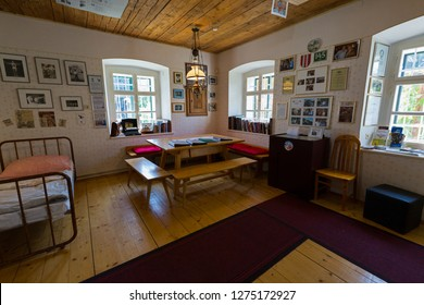STYRIA, AUSTRIA - JULY 2018: Interior of Arnold Schwarzenegger bedroom when he was a child at Arnold Alois Schwarzenegger Museum Thal, his birthplace in Thal village, Styria, Austria on July 20, 2018