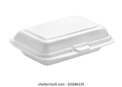 Styrofoam box isolated on white background