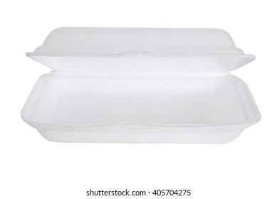 Styrofoam box on white background. Food container.