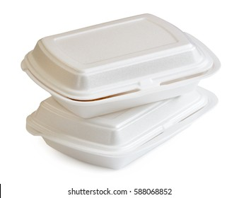 styrofoam boxes with food isolated on white background