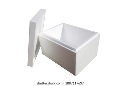 Styrofoam Crate. Cold Pack Polystyrene Shipping and Storage Box. Isolated on white. Room for text. Foam helps keep things cold for long periods of time. Shipping Crate.