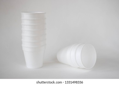 Styrofoam cups on a white background