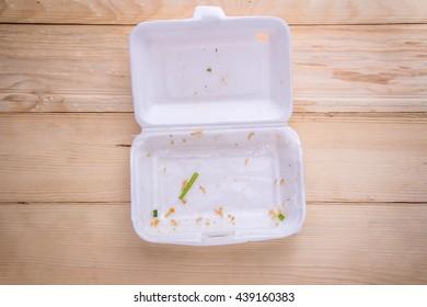Styrofoam food container empty.