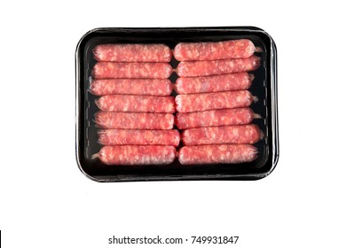 Styrofoam package of processed meat sausages