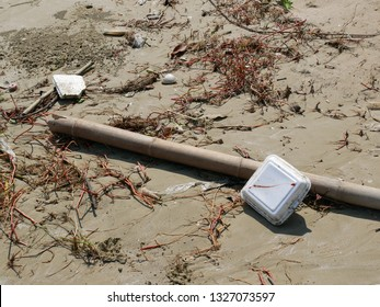 Styrofoam Pollution. Garbage pollution on the beach in Thailand.
