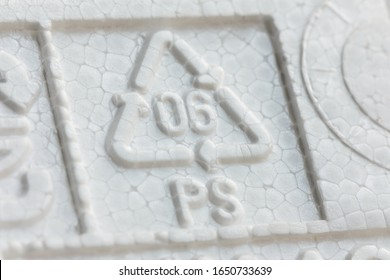 Styrofoam recycling symbol PS 06, recycle arrow triangle, six type logo, Resin identification code, polystyrene. Ecology emblem, environment protection