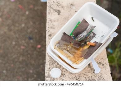 Styrofoam waste on road