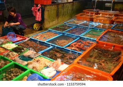 Su Ao/Taiwan_Aug 18 2017: Fresh seafood for sale at Nanfang ao fish market Su Ao Taiwan Republic of China.