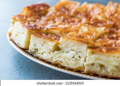 Su Boregi / Turkish Patty Borek Slices served with Plate / Burek. Traditional Food.