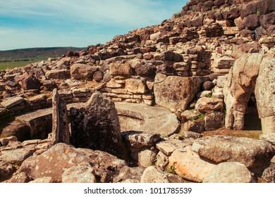 Su Nuraxi (Barumini), nuragic archaeological site in Barumini, Sardinia, Italy, Europe
