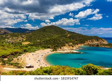 Su Portu beach near Spaggia di Chia Sa Colonia and famous Chia beach, Sardinia, Italy, Europe. Sardinia is the second largest island in the Mediterranean Sea, Sardegna, Italy.