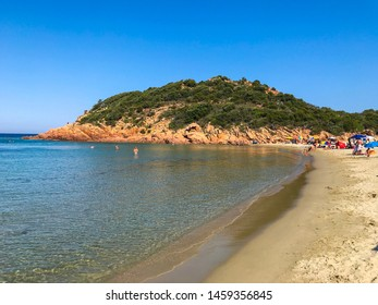 Su Sirboni, Sardinia, Italy - 07/23/2019: beach of Su Sirboni in Marina di Gairo in the island of Sardinia