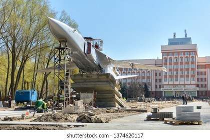 Su-24 aircraft. 17. April 2019. Rechitsky Avenue. Gomel. Belarus. Tactical front-line bomber installed in Gomel