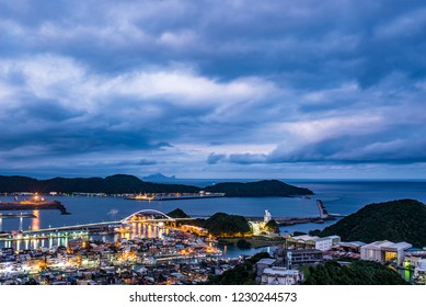 Suao Port faces the night view of the Pacific Ocean