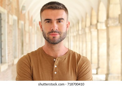 Suave bearded male portrait isolated