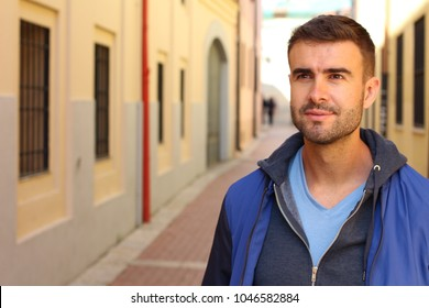 Suave male portrait isolated with copy space