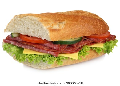 Sub sandwich baguette with salami ham, cheese, tomatoes and lettuce for breakfast isolated on a white background