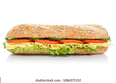 Sub sandwich whole grain grains baguette with cheese lateral isolated on a white background