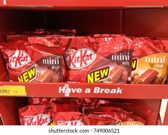 Subang Jaya, Malaysia - 05 November 2017 ; Product of Nestle, Kit Kat wafer fingers in milk chocolate on display for sale in supermarket.