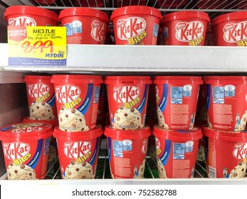 Subang Jaya, Malaysia- 09 November 2017; Kit kat ice cream from the chiller box in the supermarket.