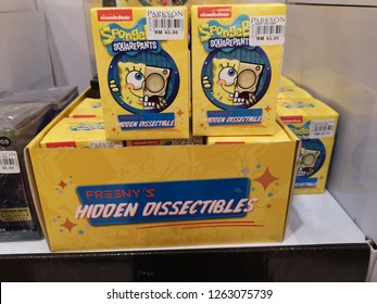 Subang Jaya, Malaysia - 15 December 2018 : View a SPONGEBOB SQUAREPANTS Hidden Dissectibles for kids play display for sell in the hypermarket.