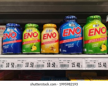Subang Jaya, Malaysia - 18 June 2021 : Close up view of Eno Fruit Salt bottles for relieving indigestion on supermarket store with selective focus.