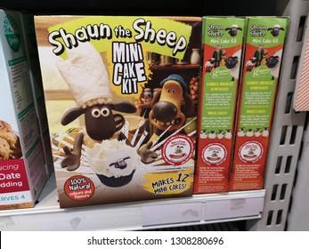 Subang Jaya, Malaysia - 2 February 2019 : Closeup a box of SHAUN THE SHEEP Mini Cake Kit flour display for sell in the supermarket.
