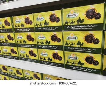 subang jaya - malaysia, 20 april 2018: dates fruits from sunseed brand display for sell