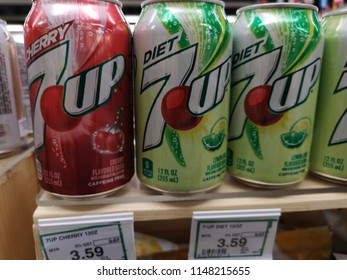 Subang Jaya, Malaysia - 22 July 2018 : Close up a can of 7UP soft drink flavour display for sell in the supermarket shelf.