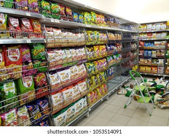Subang Jaya , Malaysia - 23 March 2018 : Assorted snack packet on the supermarket shelves.Mobile photoghpy.