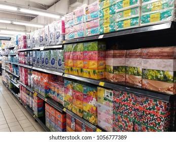 Subang Jaya , Malaysia - 23 March 2018 : Colorful box of tissue display in the supermarket shelf.