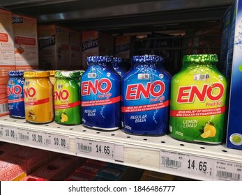 Subang Jaya, Malaysia - 23 October 2020 : Close up view of Eno bottle's for relieving indigestion on supermarket store.