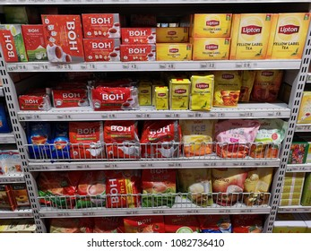 Subang Jaya, Malaysia - 30 April 2018 : Various brand of premium tea and flavouring tea brand LIPTON/BOH on supermarket shelf. Tea are often consumed for their perceived health benefits.