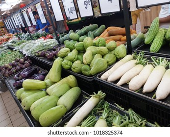 Subang Jaya , Malaysia - 3rd February 2018 : View of vegetables in grocery store at the supermarket.