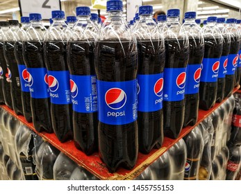 Subang Jaya, Malaysia - 6 July 2019 : A Pepsi drinks in the bottle for sell in the supermarket with selective focus. Pepsi is a carbonated soft drink that is produced and manufactured by PepsiCo.