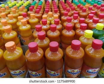 subang jaya - malaysia, 7 September 2018: many juices flavors from sunquick brand display for sell. sunquick juices bottles display with blur background
