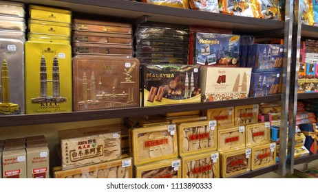 Subang Jaya, Malaysia - June 16, 2018 : Assorted sweet chocolates brand display for sell in the supermarket shelves.