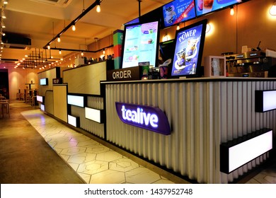 Subang Jaya, Malaysia - June 28, 2019: Inside of a cozy Tealive outlet store in SS15 Subang Jaya. Due to tea bubble craze, more Tealive outlets are scheduled to open as part of its expansion plans.