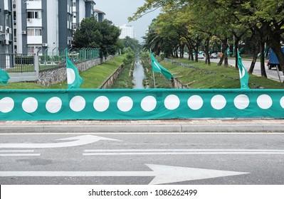 SUBANG JAYA, MALAYSIA - MAY 7, 2018: Facade of Malaysian Islamic Party (PAS) political bunting in Subang Jaya. PAS is an Islamist political party that champions the Islamic Shariah legal system.