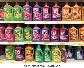 Subang Jaya, Selangor, Malaysia- 18 November 2017; Various choices of AJAX branded floor cleaning products are arranged on a supermarket shelf.