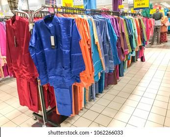 Subang Jaya, Selangor, Malaysia; April 1st, 2018 -  Hari raya shopping spree, there are variety of choice traditional fashion for hari raya celebration including clothes, scarves and other.