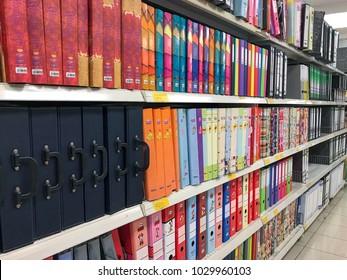 Subang Jaya, Selangor, Malaysia- February 11, 2018; Various office file folders on the supermarket shelf.