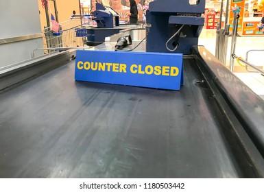 Subang Jaya, Selangor, Malaysia - September 2018; A bar with word - COUNTER CLOSED at pay counter in the supermarket.