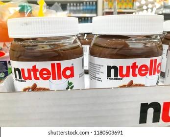 Subang Jaya, Selangor, Malaysia - September 16, 2018; Nutella hazelnut jars on the shelf for selling. Nutella is a chocolate brand,created by the Italian confectioner, Pietro Ferrero.