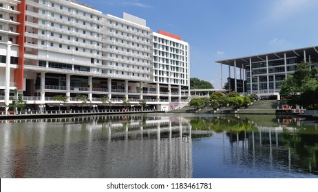 Subang Jaya, Selangor/ Malaysia - September 5 2018: Beautiful day at Taylor's Lakeside Campus, a luxurious university.