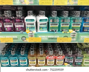 Subang Jaya,Malaysia- 09 November 2017; Listerine on market. Listerine is a brand of antiseptic mouthwash product.