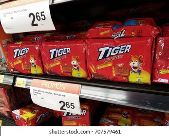 Subang , Malaysia - 31 August 2017 : View of product brand name TIGER is a biscuit chocolate flavor packed tea on the hypermarket shelf